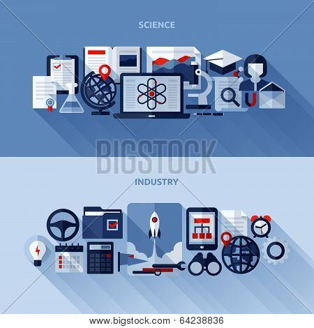 Flat Vector Design Elements Of Science And Industry