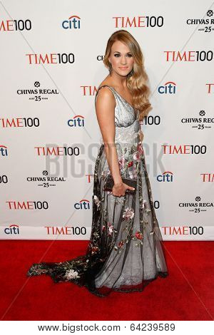 NEW YORK-APR 29: Recording artist Carrie Underwood attend the Time 100 Gala for the Most Influential People in the World at Frederick P. Rose Hall at Lincoln Center on April 29, 2014 in New York City.