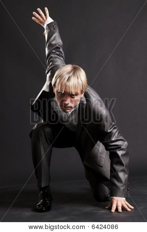 Serious Businessman Ready For Attack