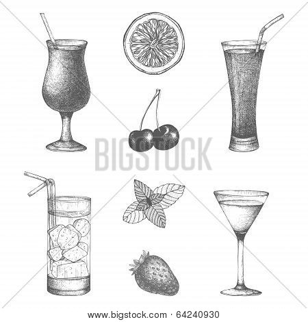 Vector set of hand drawn cocktails