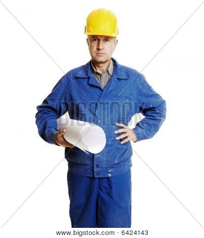 Serious Worker With Blueprints