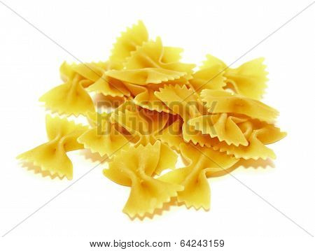 Raw Italian pasta on a white background