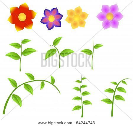 Set Of Stems With Flowers, Design Element For Spring