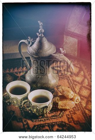 Arabic coffee cups in traditional setting- Old picture look