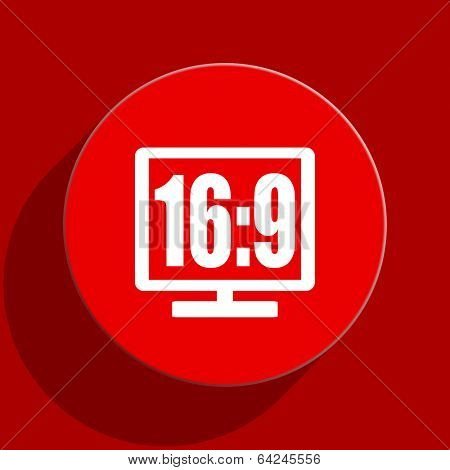 16 9 display web flat icon