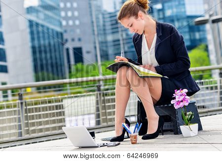 Junior Executive Dynamic leader Working Outside Of Her Office