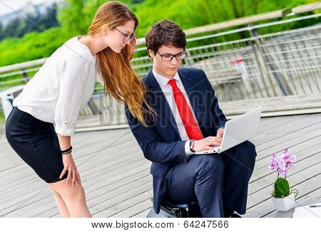 Junior Executives Dynamics leaders Working Outside Of Their Office