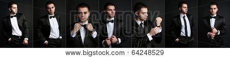 Snapshot of model. Handsome man on black background