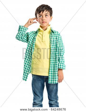 Kid Making A Crazy Gesture Over White Background