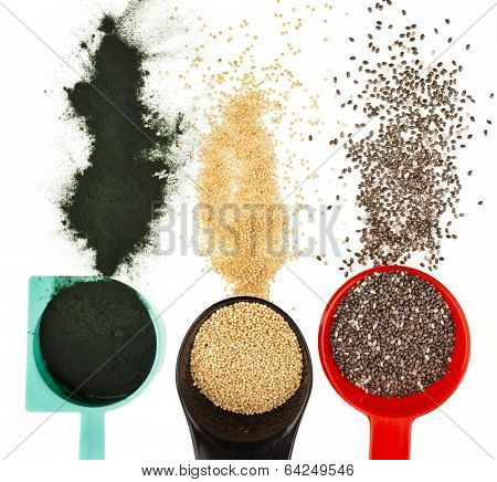 superfoods heap pile collection close up in colorful scoop  top view surface  isolated on white background