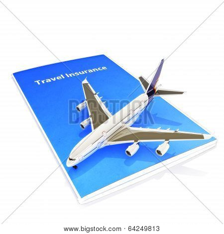 Travel Insurance concept with Jet aircraft