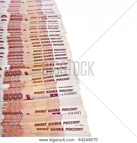 Border from 5000th rubles Bank of the Russian Federation, surface top view isolated on white background