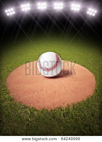 3d rendering of a Baseball on a pitchers mound of Lighted Baseball field.
