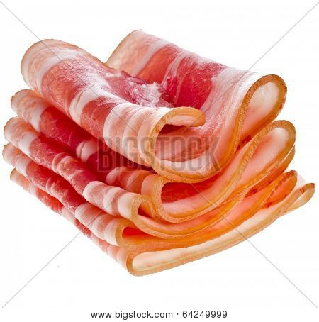 Bacon Slices isolated On White Background