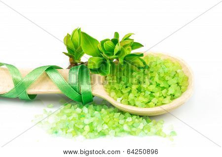 Wooden Spoon With Green Bath Salt