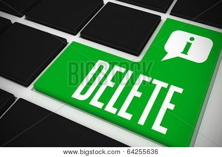The word delete and speech bubble on black keyboard with green key