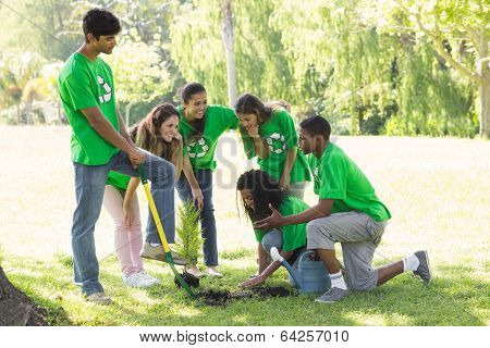 Group of young environmentalists planting in park