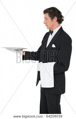 Server in suit holding tray isolated over white background