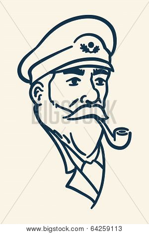Bearded boat captain smoking pipe illustration
