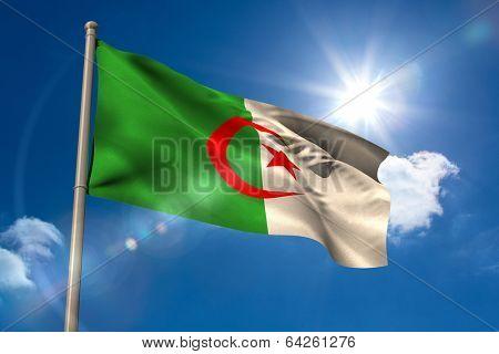 Algeria national flag on flagpole on blue sky background