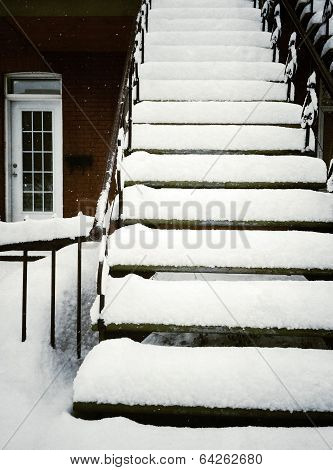 Staircase After Snowstorm