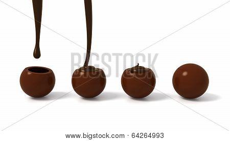 Milk Chocolate Praline Filling Steps With Dark Chocolate Cream