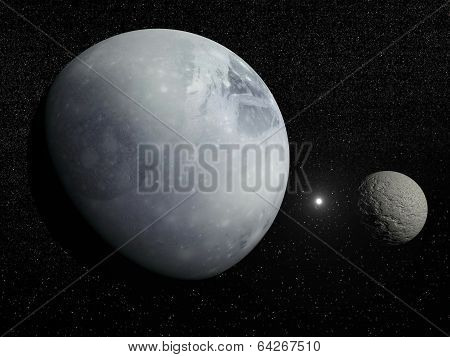 Pluton, Charon and Polaris star - 3D render