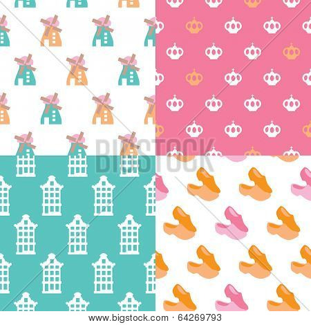 Seamless holland patterns dutch illustration background patterns set in vector