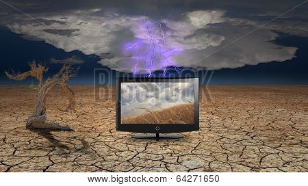 Flat Panel with fields of grain in desert