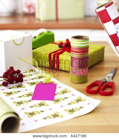 Gift Wrapping Materials On Table