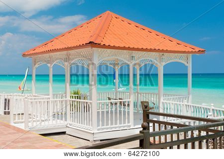 Colorful terrace overlooking the beautiful Varadero beach in Cuba