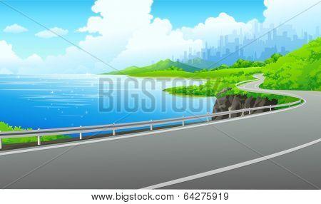 vector illustration background seaside driving