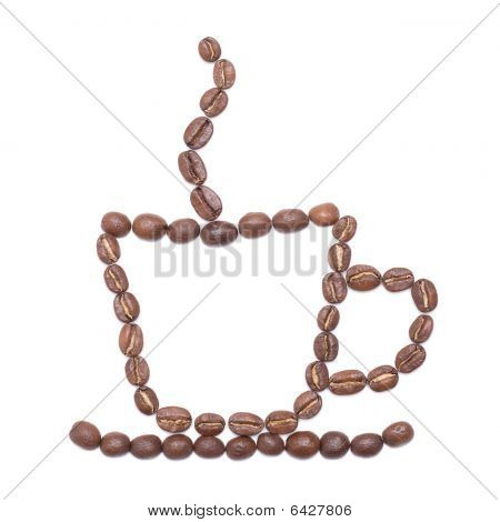 Coffee cup lined with coffee beans