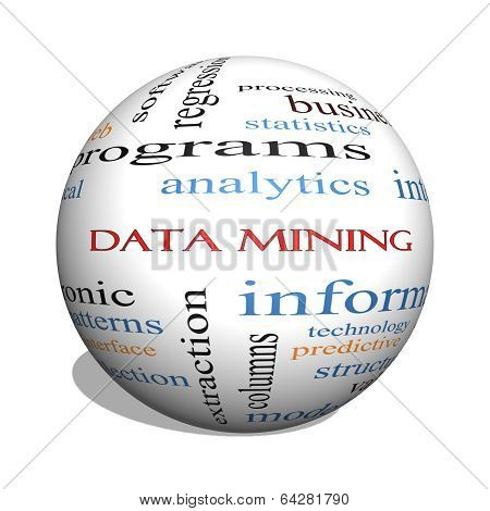 Data Mining 3D Sphere Word Cloud Concept