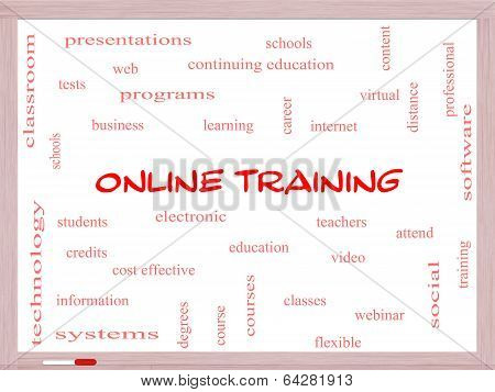 Online Training Word Cloud Concept On A Whiteboard