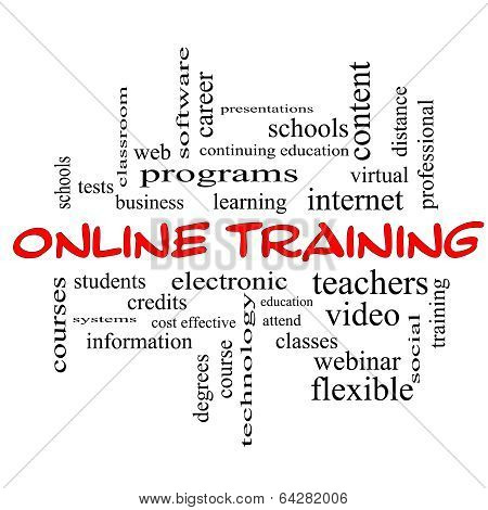 Online Training Word Cloud Concept In Red Caps