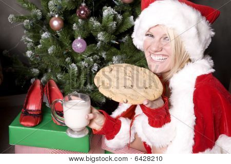 Santa Helper With Great Big Cookie