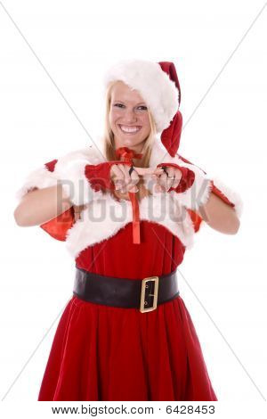 Santas Helper Scolding With Smile