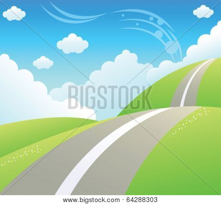 Road over Green mountain and sky