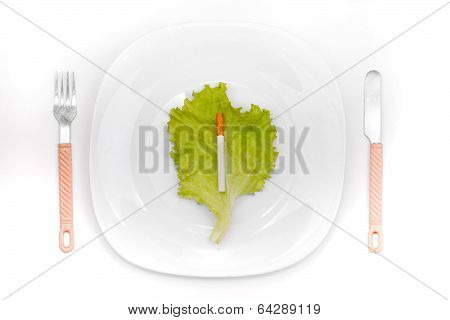 Cigarette On Dinner Plate