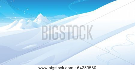 Snowing over snow capped Mountain