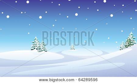 Fir trees over snow landscape