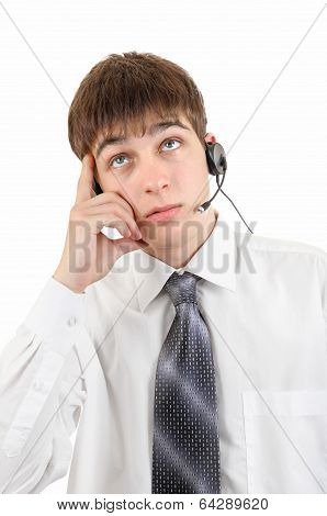 Young Man Thinking In Headset