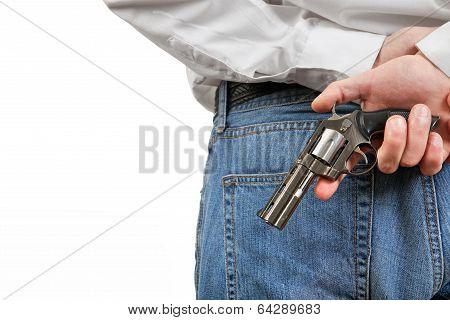 Man Hide The Gun Closeup