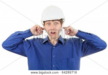 Man In Hard Hat With Closed Ears
