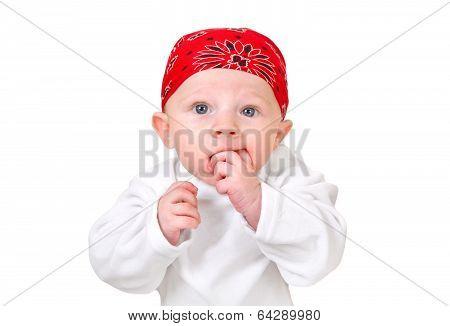 Funny Baby Boy In Headscarf