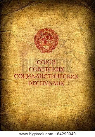 Old Cover Union Of Soviet Socialist Republics