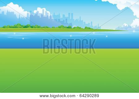 City Skyline with Green landscape and waterfront