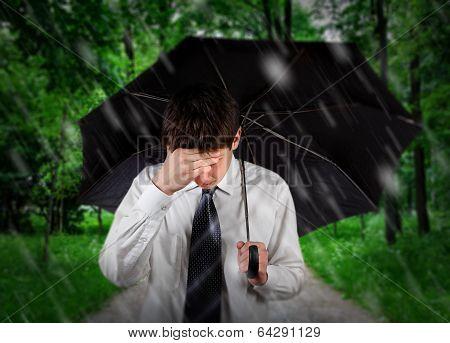 Sad Man Under Rain