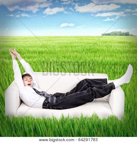 Teenager Awake In The Field